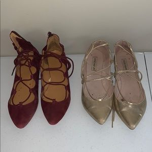 TWO Pairs of Lace Up Flats